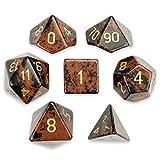 Wiz Dice Set of 7 Premium Handmade Stone Polyhedral Choose from 12 Types! (Mahogany Obsidian)
