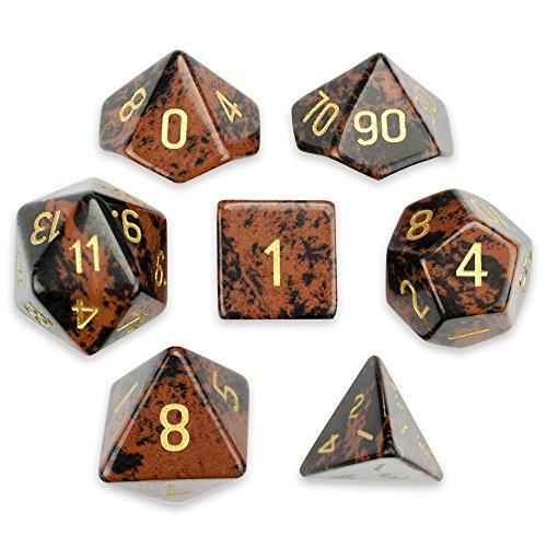 Poker Set Mahogany (Set of 7 Premium Handmade Stone Polyhedral Wiz Dice - Choose From 12 Types! (MAHOGANY OBSIDIAN))