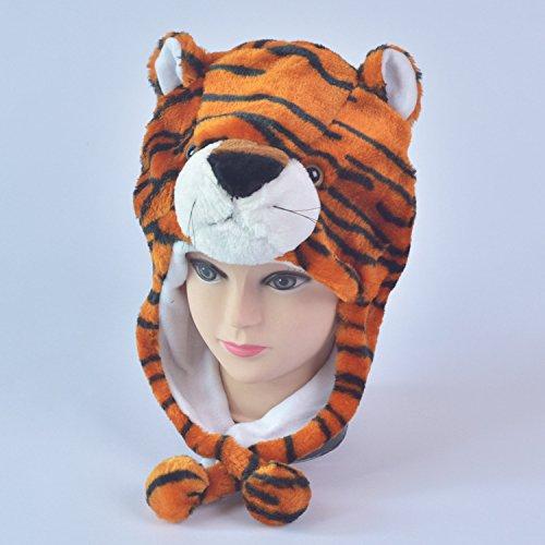 Opcbreath Interessante e Creativo Copricapo di animali bambino giocattolo peluche Cartone animato di animali bambino giocattolo (tigre)