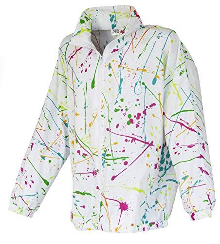 Funny Guy Mugs White Paint Splatter 80s & 90s Retro Neon Windbreaker, -