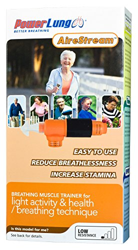 PowerLung AireStream Light Resistance Breathing/Respiratory Trainer - Music | Health ARS-K100 Orange by PowerLung (Image #1)