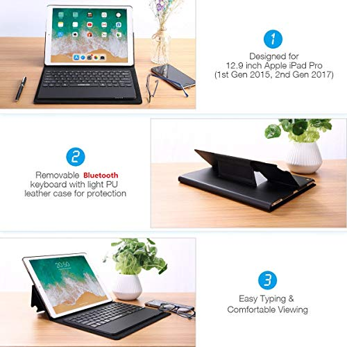 Apple iPad Pro 12.9 Keyboard Leather Case, Poweradd Bluetooth Keyboard Folio Case/Cover with Removable Wireless Keyboard/Pencil Holder, Built-in Stand for 12.9 Inch iPad Pro 2015(1st) 2017(2nd)-Black