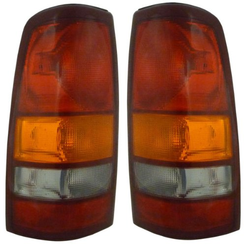 1999-2002 Chevy/Chevrolet Silverado & 1999-2003 GMC Sierra 1500 2500 & 2002-2003 Sierra 3500 Full Size Pickup Truck Fleetside/Wideside Taillight Taillamp Lens & Housing Rear Brake Tail Light Lamp Set Pair Right Passenger AND Left Driver Side (1999 99 2000 00 - Gmc 2500 Truck 2000