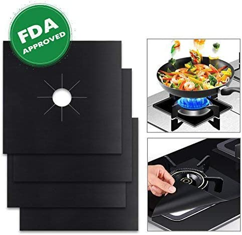 """Stove Burner Covers Reusable Gas Stove Protectors Non-stick Stovetop Burner Liner Cover-Size 10.6/""""x 10.6/""""-Double Thickness 0.2mm FDA Approved Dishwasher Safe Heat-resistant 4 Pack"""