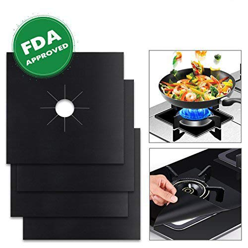 Wimaha 4 Pack Gas Hob Range Protectors Reusable Stovetop Burner Liner Non-Stick, FDA Approved, Double Thickness, 10.6 x 10.6, Black