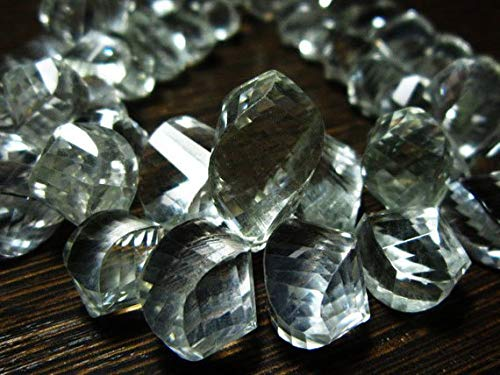 JP_BEADS 295 -Carat-AAA-Natural Rock Crystal Faceted Big Spiral Tear Drops-7