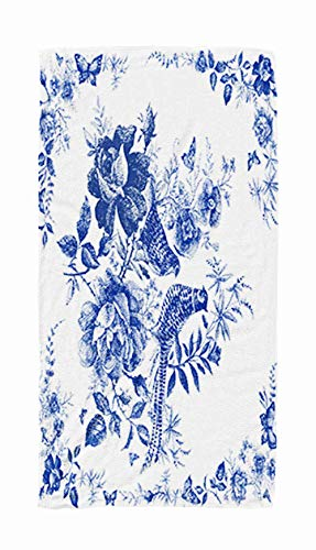 ROOLAYS Large Bath Towels, 30x60 Microfiber Beach Towel Quick Dry for TravelSwimming Baby Bath Towel of Silk Scarf with Floral and Wild Animal Pheasant Vintage Design Shawl Roses Fairytale