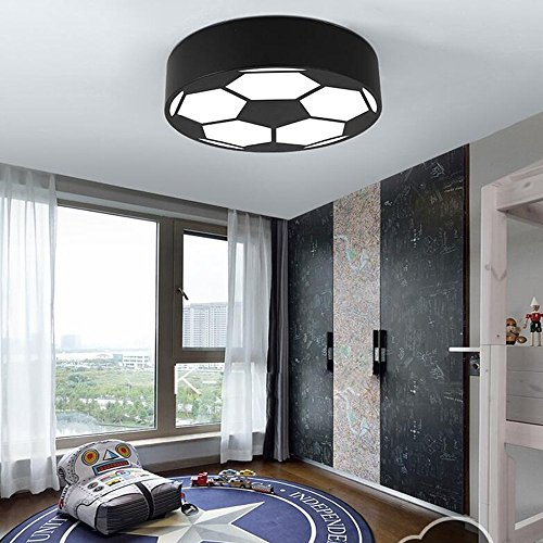 DIDIDD Ceiling light- round soccer kids room ceiling lights bedroom simple modern ceiling lights(black , Blue , Green , Red , Yellow) --home warm ceiling lamp,White light-Black-50CM by DIDIDD