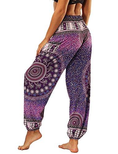 Pluderhose Glamorous Mandalas Yoga Pantaloni Pantaloni Di Semplice Libero Pantaloni Stampato Estivi Violett Baggy Harem nbsp; HaiDean Tempo Stoffa Donna Pantaloni 6wqnTWtxHP