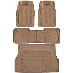 Motor Trend 4pc Beige Car Floor Mats Set Rubber Tortoise Liners w/ Cargo for Auto SUV Trucks