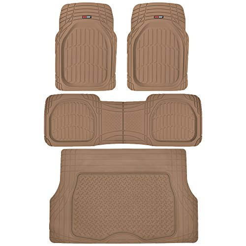 Motor Trend 4pc Beige Car Floor Mats Set Rubber Tortoise Liners w/Cargo for Auto SUV Trucks