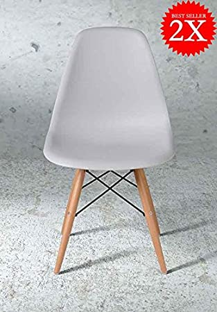 eames style chairs uk. 2 x premium quality eames style dsw eiffel dining office chair light grey / gray wooden eames style chairs uk