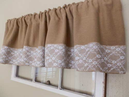 Burlap & White Lace Handcrafted Window Valance 16″x 72″ Soft Burlap Fabric No- Hassel Returns For Sale