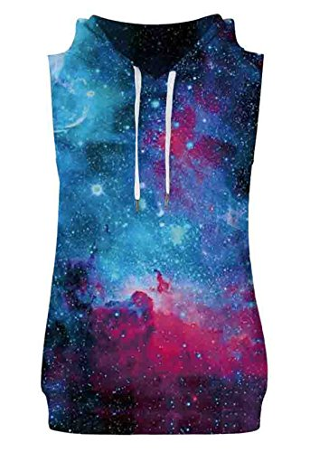 Aieoe Mens and Womens Cosmic Galaxy Hooded Sweatshirt Tank Top Pullover Vest with Pocket US Size XL