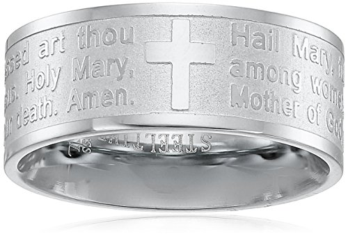 Steeltime Stainless Steel Serenity Prayer Band Ring, Size 8