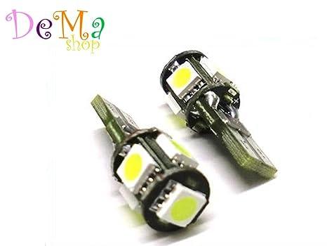 Lampadina Luci Targa : 2 lampadine t10 w5w canbus 5 led smd 5050 no errore luce posizione