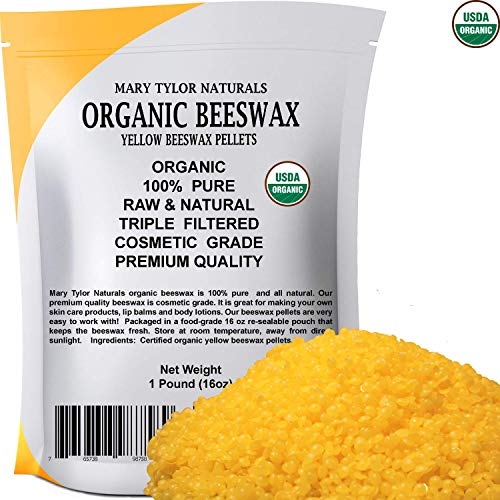 Certified Organic Yellow Beeswax Pellets 1lb by Mary Tylor Naturals, Premium Quality, Cosmetic Grade, Triple Filtered Bees Wax Pastilles Great for DIY Lip Balm Recipes Body Creams Lotions Deodorants