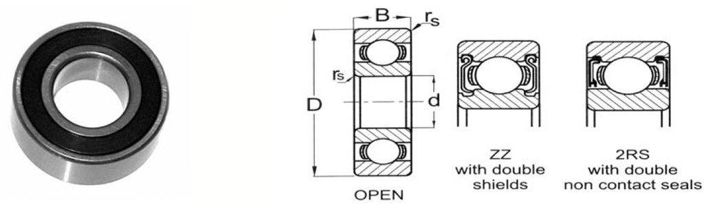 KML R3A-ZZ 3/16'' x 5/8'' x .1961'' Radial Ball Bearing Double Shielded Bearing NEW