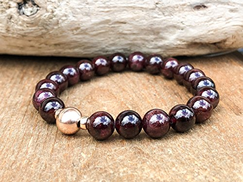 8mm Garnet Energy Mala Bracelet with Sterling Silver, 14K Gold Fill or Rose Gold Fill