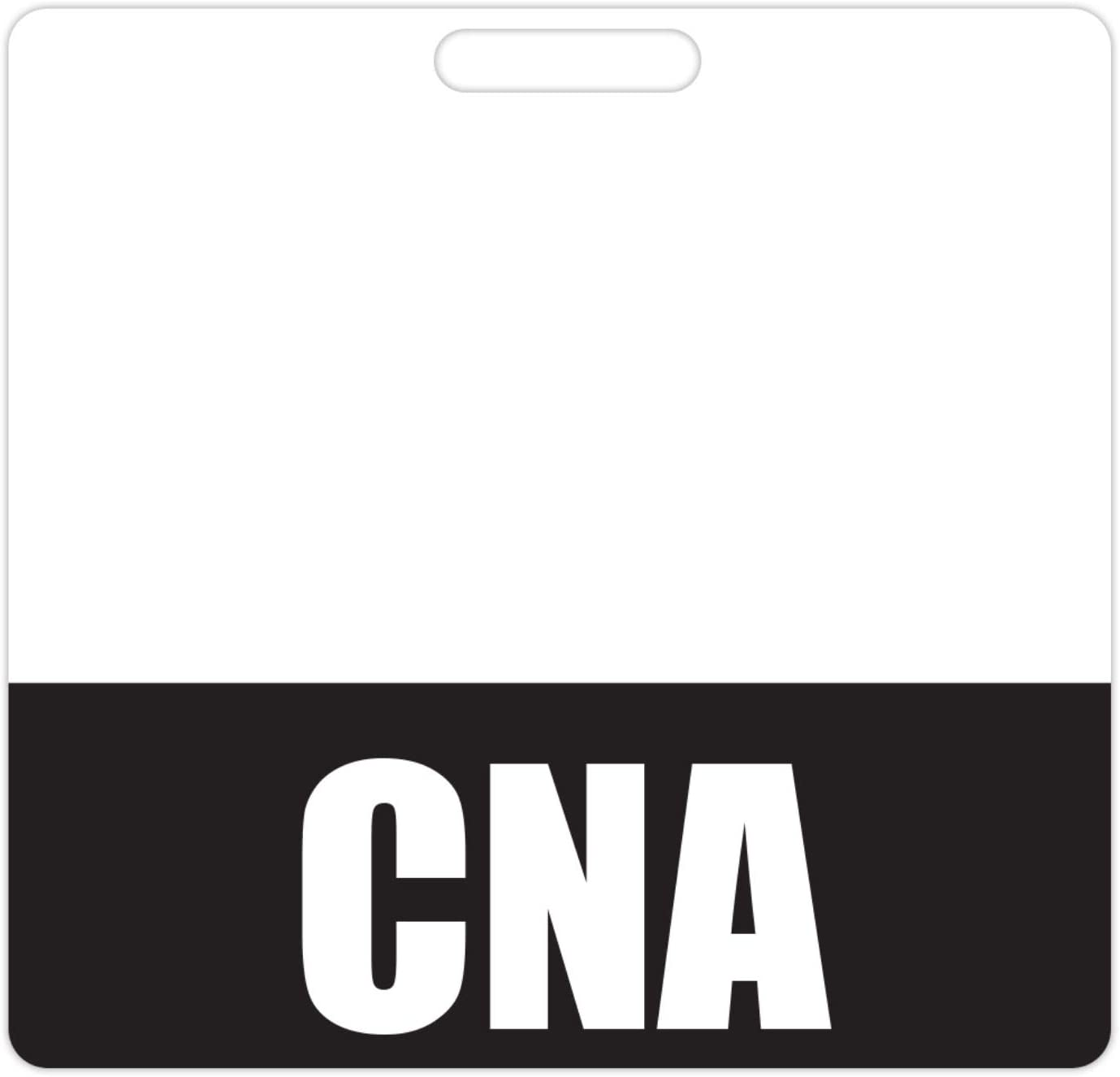 CNA Badge Buddy (Black) - Horizontal Heavy Duty Badge Tags for Certified Nursing Assistants - Double Sided Badge Identification Card