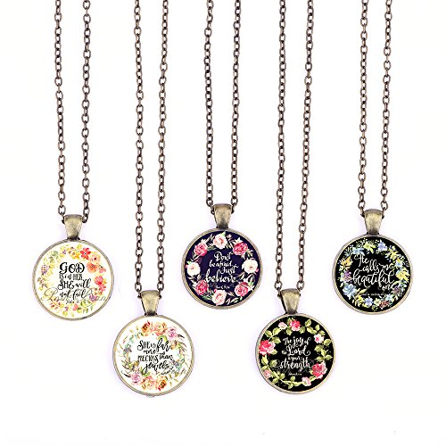 Vintage Bible Verses Pendant Necklace Glass Cabochon Pendant Inspired Necklace with Long Bronze Chain Handmade for Gifts 5pcs (Verses 4, Big Round)