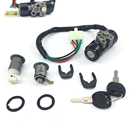 SCOOTER IGNITION KEY SWITCH ASSEMBLY LOCK SET SOME RETRO STYLE CHINESE SCOOTER GY6-PARTS 4STROKE BENZHOU YIYING YY50QT-14a ZNEN BELLA BMS JMSTAR ....