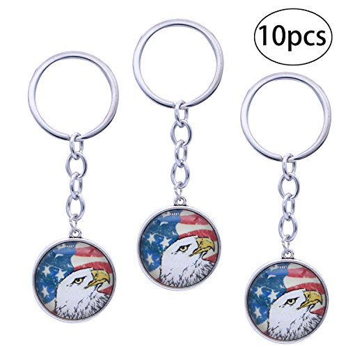 LUOEM 10Pcs Bald Eagle Key Chain Exquisite American Flag Art Antique Charm USA Flag Keychain Vintage Jewelry Gift for Friends (Silver) ()