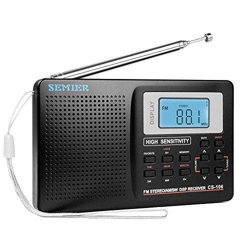 SEMIER Portable Shortwave Travel AM/FM Stereo Radio with Clock