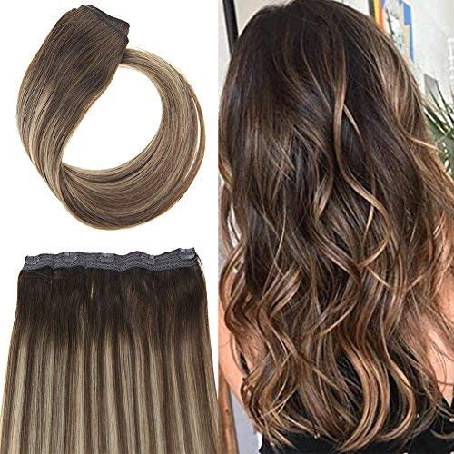 Youngsee 22inch 70G Clip in One Piece Human Hair Extensions Ombre Balayage Dark Brown Fading to Caramel Blonde Mix Brown 3/4 Full Head Remy Clip Hair Extensions with 5 Clips (One Hair Shipping Piece Extension)
