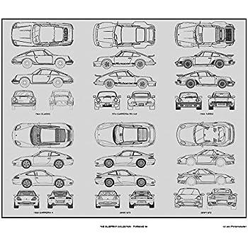 Amazon.com: Porsche 911 Blueprint Collection Print Car Art Gift ...