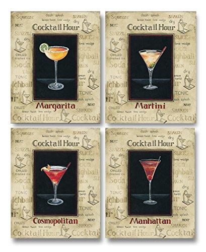 Vintage Cocktail Hour Signs Manhattan, Margarita, Cosmopolitan, Martini Four Poster Prints