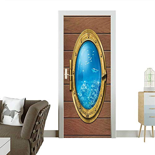 Homesonne Modern Art Door Sticker Chamber Window with A View of Coral Reef Swimming Fishes Print Light Caramel Environmentally Friendly decorationW32 x H80 INCH from Homesonne