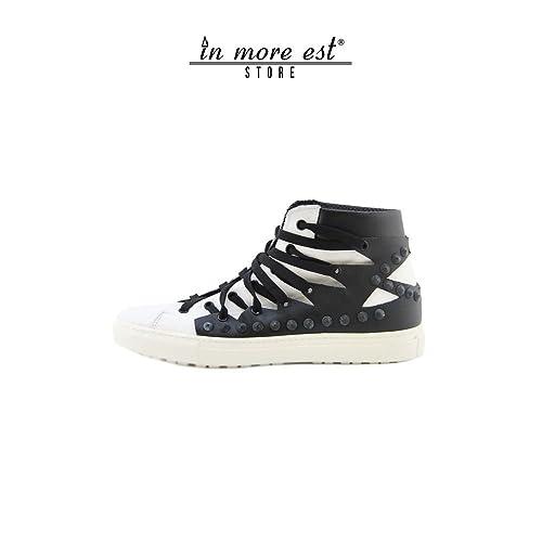 De Alta-Top Zapatillas Blanco/Negro Becerro De Cordones Negro Tacos, 43: Amazon.es: Zapatos y complementos