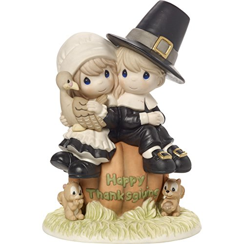 Precious Moments I Give Thanks Every Day For You Pilgrim Thanksgiving Couple Limited Edition Bisque Porcelain Figurine 179014 by Precious Moments