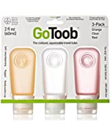 Humangear GoToob 2oz Silicone Squeeze Bottles 3-Pack Clear/Orange/Red for Travel