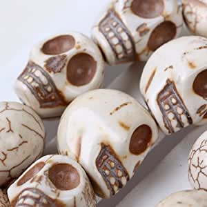 """WHITE HOWLITE TURQUOISE CARVED SKULL GEM 16"""" inches of LOOSE BEAD [could be converted into a POWER NECKLACE] - From Hibiscus Express"""