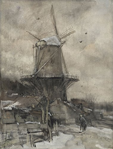 A Mill In The Winter, By Jacob Maris, C. 1880-86, Dutch Watercolor Painting. A Bent Figure Of An Old Women Walks Toward The Windmill (Bsloc_2016_2_31) Poster Print (18 x 24) (Jacob Windmill)