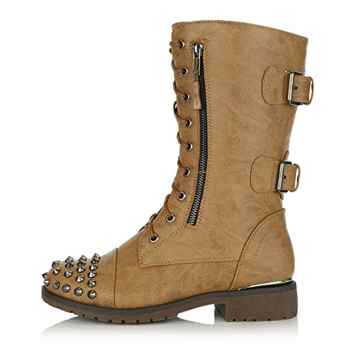 High Military Front Buckle Dailyshoes Pu Lace Tan Combat Mid Booties Women's Pocket Credit Boots Exclusive Knee Up Card Studded z665xBq
