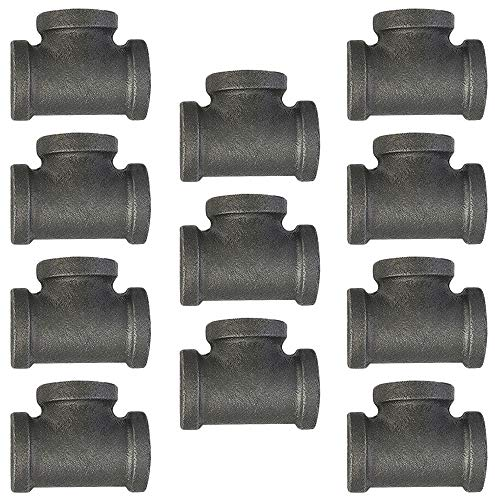10 Pack - 1/2 Inch Tee Black Pipe Threaded Pipe Nipples | 1/2 Black Cast Pipe Fittings, Industrial Pipe Decor Piping Tees Fit for Plumbing Pipe Shelf and DIY Steampunk Vintage Pipe Furniture Project