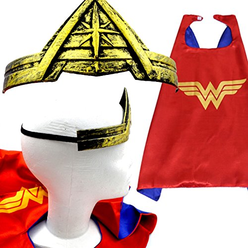 Wonder Woman Cape and Crown Costume for Girls - Great for a 2017 Halloween Costume - Devil Costume Makeup Ideas