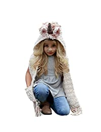 Sunroyal Girls Hoodie Hat Scarf,Unicorn Tassel Wool Winter Fall Knitted Shawl Hats Cap Hooded Cloak Cape Caps Beanies Party Cosplay Gifts for 3-12 Year Old Girls - Pink Unicorn