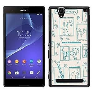 LECELL--Funda protectora / Cubierta / Piel For Sony Xperia T2 Ultra -- Lion Zoo Kids Dibujo Madre Mamá Niño --