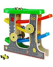 Nuheby Kugelbahn Holz Rennbahn Autorennbahn 4 Autos mit Parkplatz und 2 Windmühle Geschenk für Kinder 3 4 5 6 Jahre Mädchen Junge