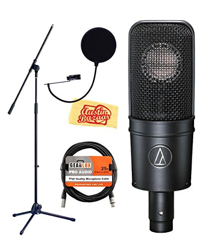 Audio-Technica AT4040 Cardioid Condenser Microphone Bundle with Boom Stand, Pop Filter, XLR Cable, Polishing Cloth