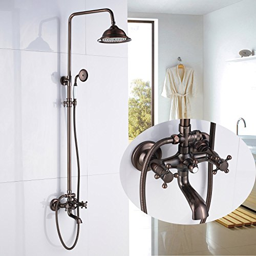 Function:Shower Faucet Set Faucet Material:Brass Finish:Antique Copper Top  Shower Material