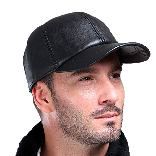 Sheepskin Cap - Vemolla Baseball Cap Genuine Sheepskin Adjustable Unisex Leather Baseball Hats Black One Size