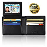 [RFID Blocking Wallet] Kupton Genuine Leather Wallets for Men - Travel Bifold - RFID Shielding Credit Card Protector - Business Style Wallet w/Gift Packing