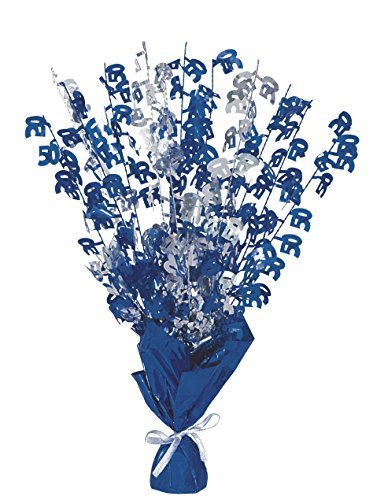 Glitz Blue 50th Birthday Balloon Weight Centrepiece by