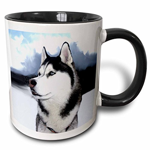 - 3dRose 4438_4 Siberian Husky - Two Tone Black Mug, 11 oz, Multicolored