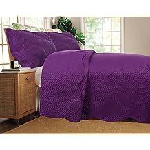 DaDa Bedding 3 Piece Solid Purple Midnight Vineyard Reversible Light and Thin Bedspread Set, Queen